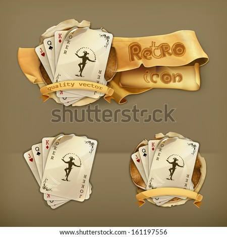 Playing cards with a joker, icon - stock vector