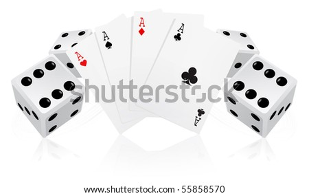 Playing cards with dices - stock vector