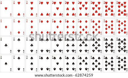 playing cards 62x90 mm from one to ten - stock vector