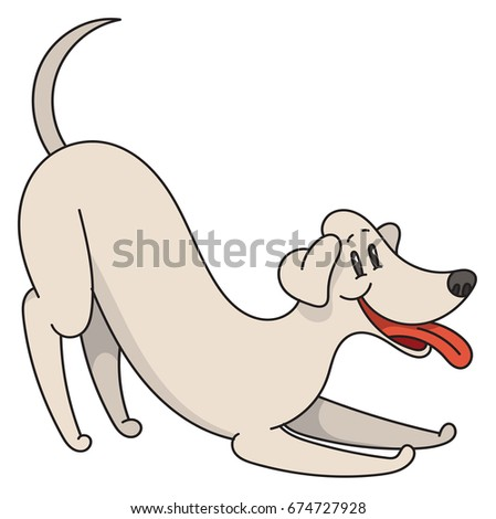 playing cartoon dog with smile vector illustration