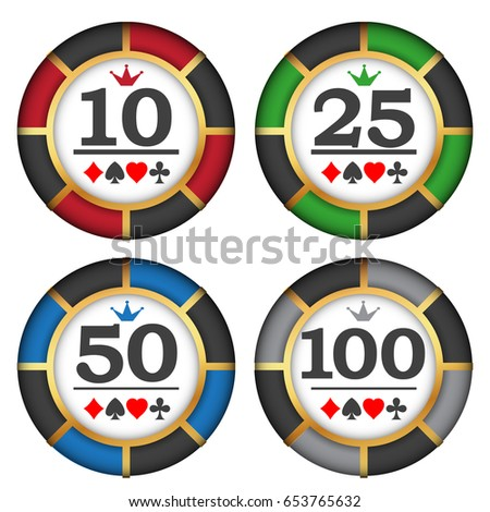 Playing casino chips on white background