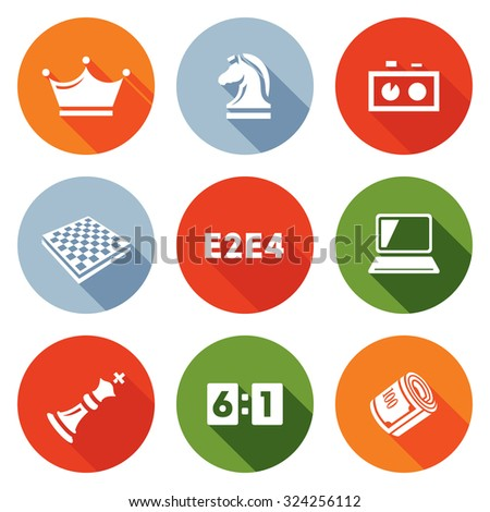 Playing chess and modern technology icons set. Vector Illustration. - stock vector