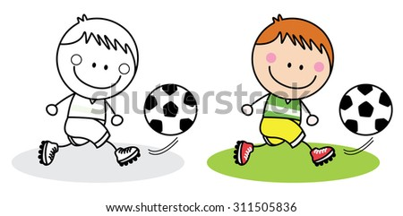 playing football boy  - stock vector