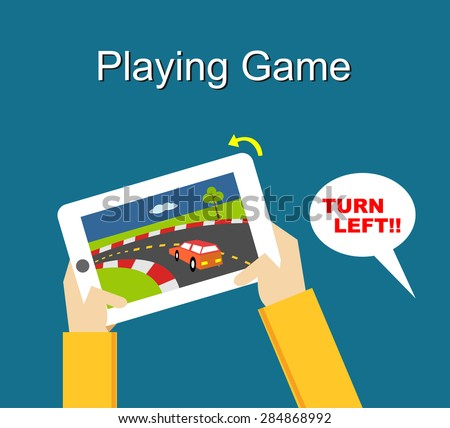 Playing game Illustration. Flat design.  - stock vector