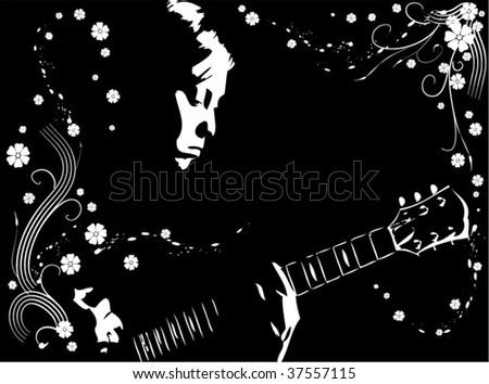 Playing guitar - stock vector
