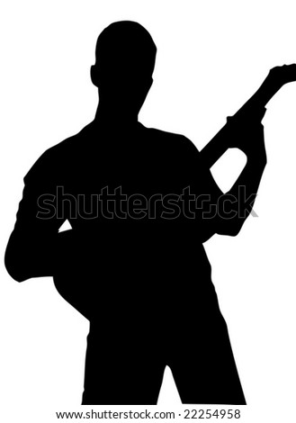 Playing guitar silhouette vector
