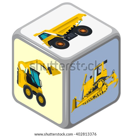 Playing isometric dice. Construction machinery game. Color full cube on white background. Six sides game die. Side with excavator, bagger and truck, risk. Flatten isolated master vector illustration. - stock vector