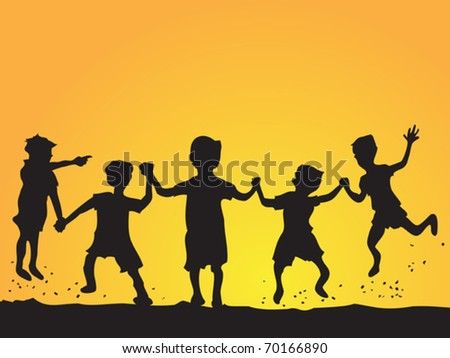 playing kids silhouette - stock vector
