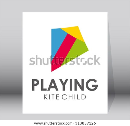 Playing kite colorful square game abstract vector logo design template fun kids business holiday icon company identity symbol concept