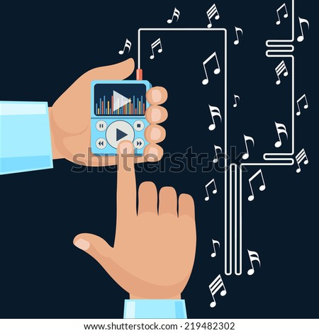 Playing music in Mp3 player hands on background with notes. Finger presses button play flat design cartoon style. Touchphone with connected headphones - stock vector