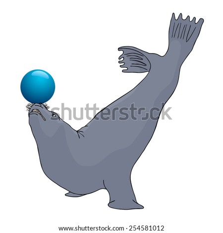 Playing seal - stock vector