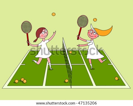 Playing tennis - vector - stock vector