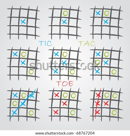 Playing tic tac toe - stock vector