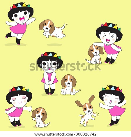 Playing With Puppies illustration - stock vector