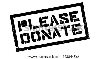 Please Donate rubber stamp on white. Print, impress, overprint.