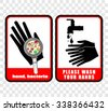 please wash your hands, sticker vector - stock photo