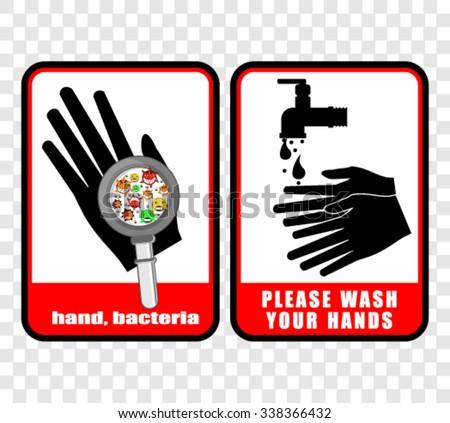 please wash your hands, sticker vector - stock vector