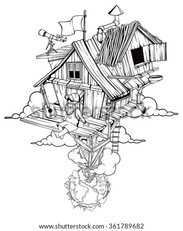 Pleased man sits in his secluded house. High above the ground. Black and white