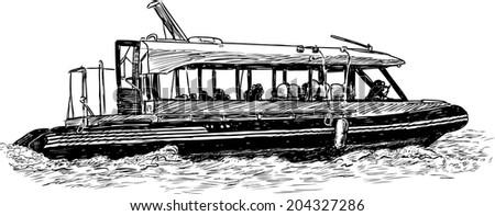 pleasure boat - stock vector