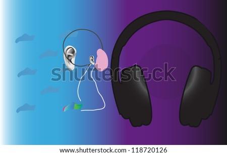 pleasure from music - stock vector