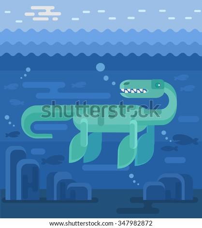 Plesiosaur vector flat illustration - stock vector