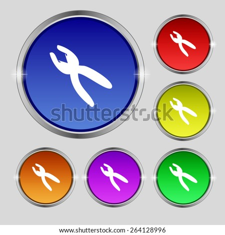 pliers icon sign. Round symbol on bright colourful buttons. Vector illustration - stock vector