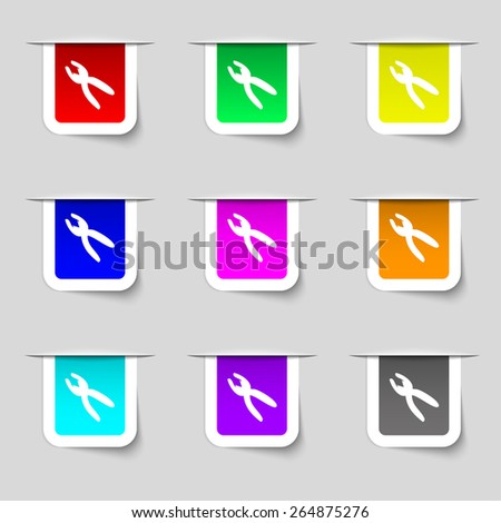 pliers icon sign. Set of multicolored modern labels for your design. Vector illustration - stock vector