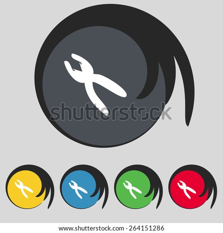 pliers icon sign. Symbol on five colored buttons. Vector illustration - stock vector