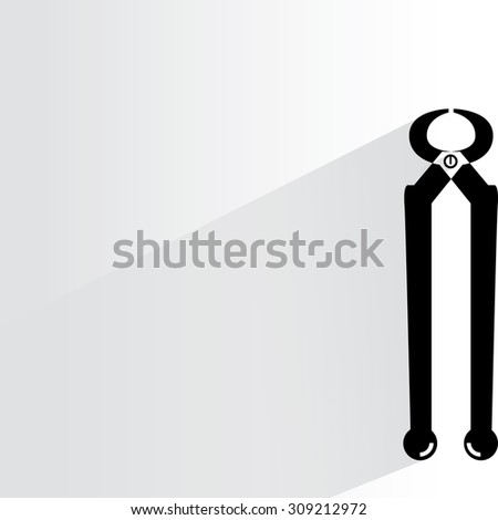 pliers on white background, flat and shadow theme - stock vector