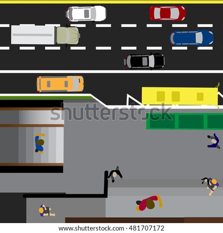 Plot road, street with the store. Underground crossing. Crossroads. Bus stop. With different cars. Top view of the highway. Vector illustration