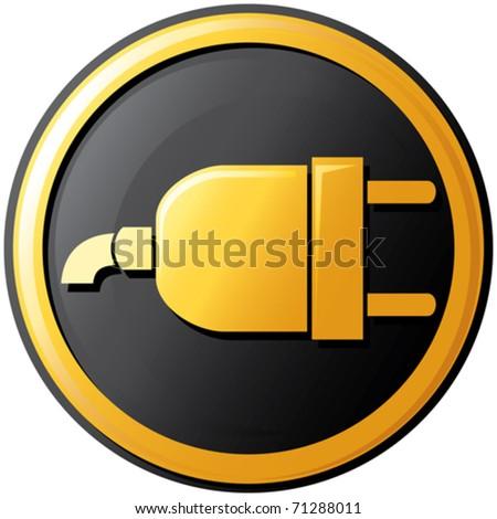 plug button (icon) - stock vector