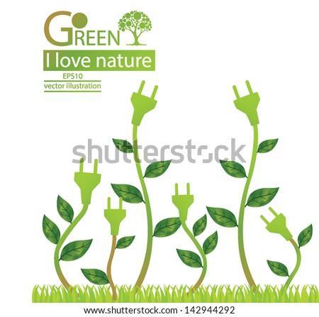 Plug. Green concepts save energy. tree vector illustration. - stock vector