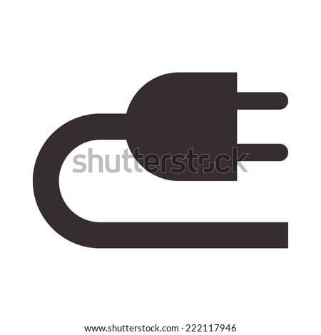 Plug icon isolated on white background - stock vector