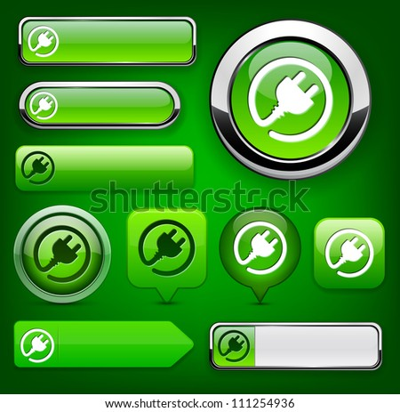 Plug web green buttons for website or app. Vector eps10. - stock vector