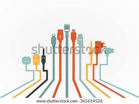 Plug Wire Cable Computer colorful vector illustration - stock vector