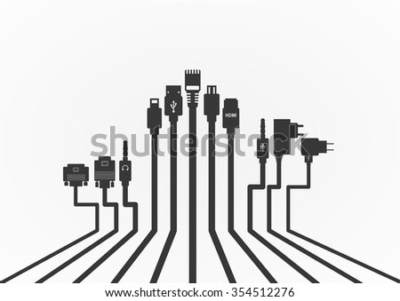 Plug Wire Cable Computer  vector illustration - stock vector