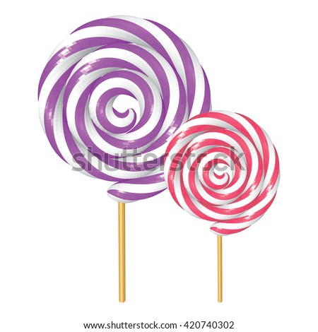 Plum and Raspberry Twisted Lollipops Isolated on White. Violet and Fuchsia Spiral Candies. Low Poly Realistic Vector illustration.