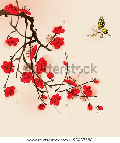 Plum blossom and butterfly, vectorized brush painting. - stock vector