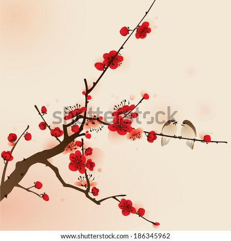 plum blossom, vectorized brush painting, symbolize love and happiness - stock vector