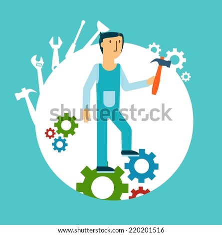 plumber holding a hammer illustration - stock vector