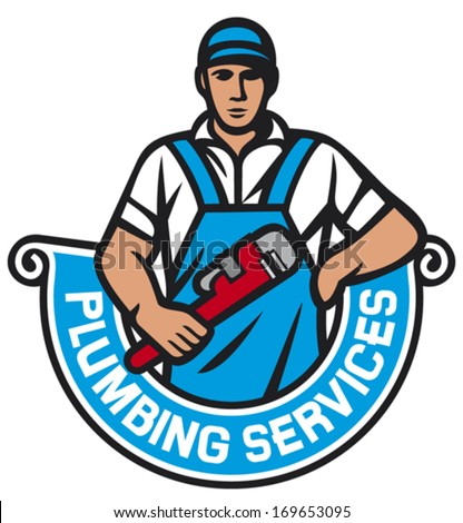 plumber holding wrench plumbing services stock vector royalty free
