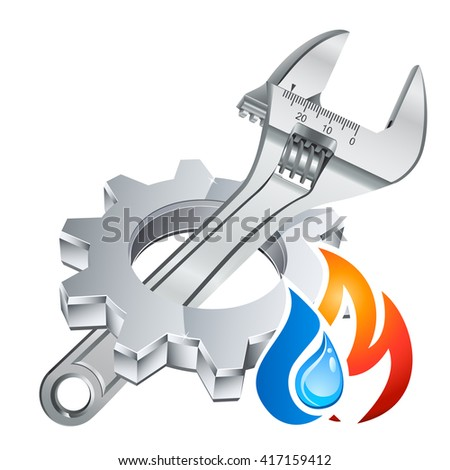 plumber icon with gear, adjustable wrench and fire/water symbol