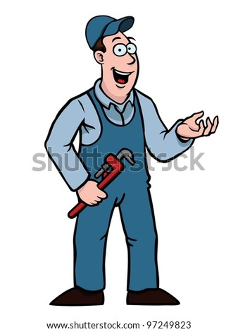 Plumber in overall with a wrench showing something - stock vector