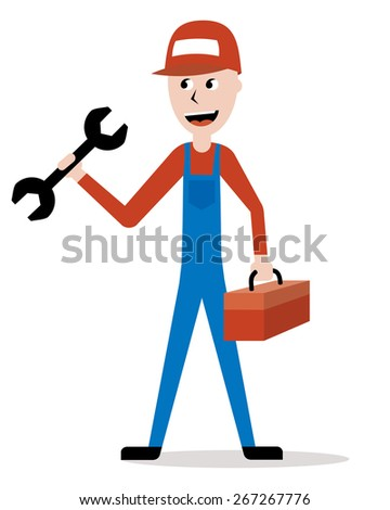 plumber, mechanic or handyman holding a wrench - stock vector