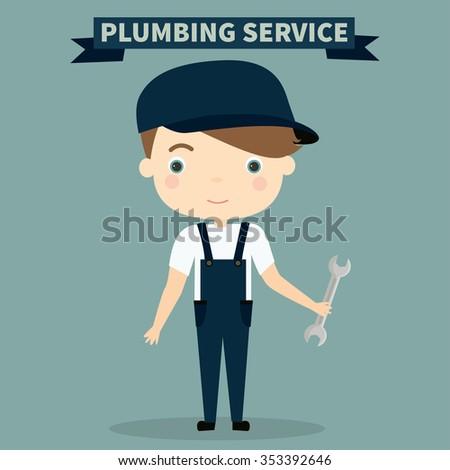 Plumber. Profession. Cute vector illustration. Plumbing service - stock vector