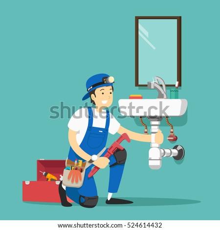 plumber repairing pipe on kitchen. Vector illustration.