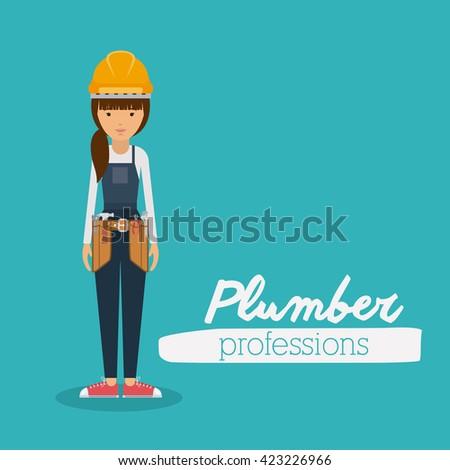 plumber woman design  - stock vector