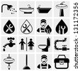 Plumbing and bathroom vector icons set - stock photo