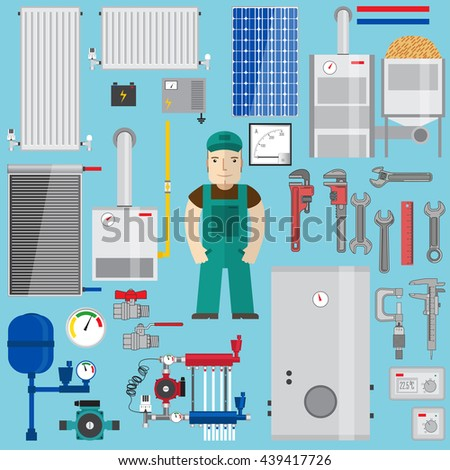 Plumbing and heating elements. Heating equipment.Set with boiler, plumber, wrench, pump, solar panel, pipes, radiators, battery, ammeter, thermostat, gas boiler, pellet boiler, expansion tank. - stock vector