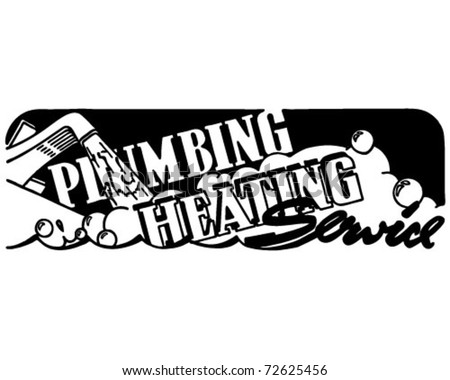 Plumbing Heating Service - Retro Ad Art Banner